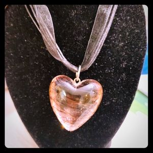 Purple glass Heart necklace